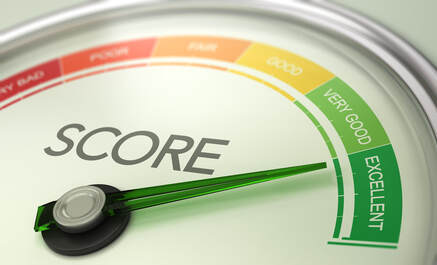 Picture of a credit score gauge with the needle pointing to the word excellent