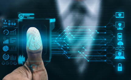 Electronic picture of digital symbols and a digital thumbprint with a man wearing a suit blurred out in the background